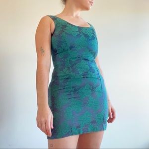 90s Vintage Green Floral Mini Dress
